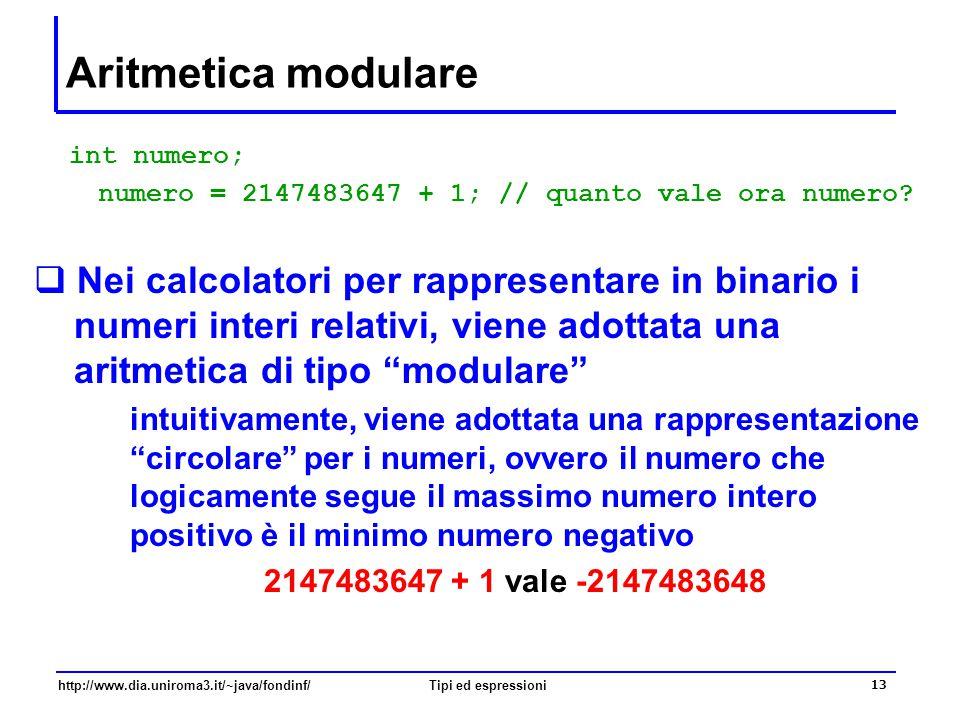 http://www.dia.uniroma3.it/~java/fondinf/Tipi ed espressioni 14 Rappresentazione modulare degli interi  Esempio: con un numero di bit N = 3, [-4, …,+3] 000 111 110 101 100 011 010 001 0 1 -4 -3 -2 3 2 + 1