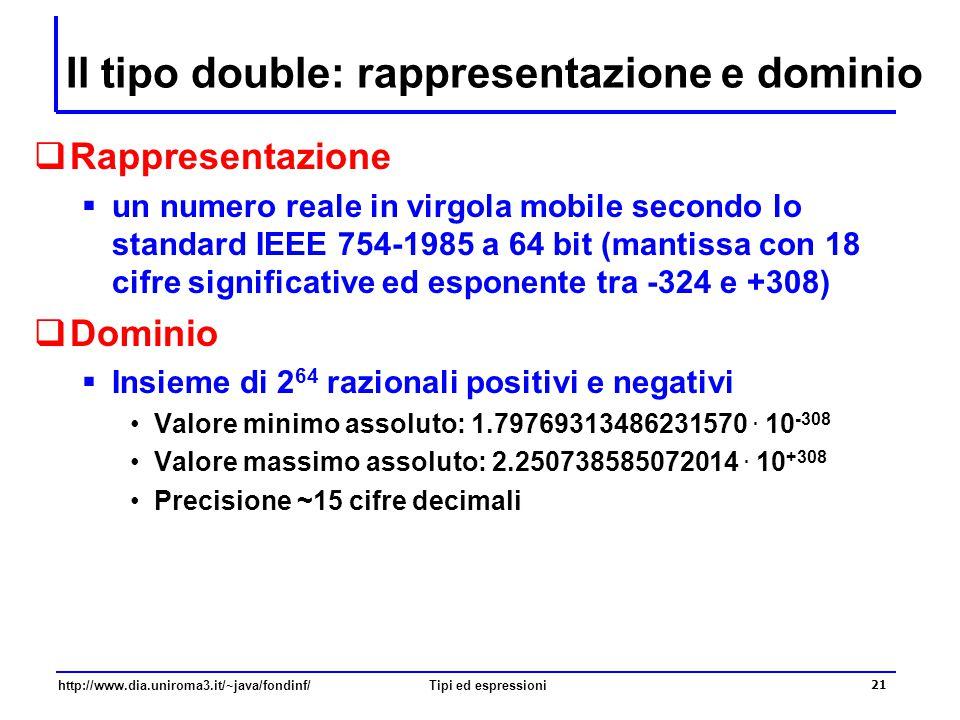 http://www.dia.uniroma3.it/~java/fondinf/Tipi ed espressioni 22 Letterali in virgola mobile  I letterali di tipo double contengono un punto, e/o contengono una E che separa la mantissa dall'esponente, e/o terminano per D –3.2E–6 denota il valore 3.2 × 10 –6 –ma anche 32E–7 o 0.0000032  Attenzione il letterale 3 denota un valore intero i letterali 3.