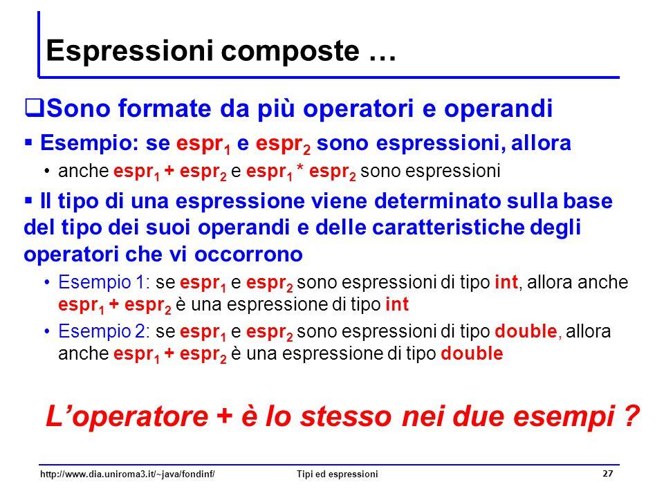http://www.dia.uniroma3.it/~java/fondinf/Tipi ed espressioni 28 … Espressioni composte  Esempio  2 * 3 + 4 è una espressione, in cui compaiono due operatori gli operandi dell'operatore * sono i letterali 2 e 3 gli operandi dell'operatore + sono l'espressione 2*3 e il letterale 4  nell'espressione 3.14 * r * r ci sono due operatori gli operandi dell'operatore * più a sinistra sono i letterali 3.14 e la variabile r gli operandi dell'operatore * più a destra sono l'espressione 3.14*r e la variabile r  anche Math.sqrt(a) + Math.sqrt(b) è una espressione in cui l'operatore somma va applicato ai risultati delle invocazioni di metodi Math.sqrt(a) e Math.sqrt(b)  anche Math.sqrt(a + b) è una espressione in cui il metodo Math.sqrt va invocato usando come argomento il risultato della valutazione dell'espressione a+b
