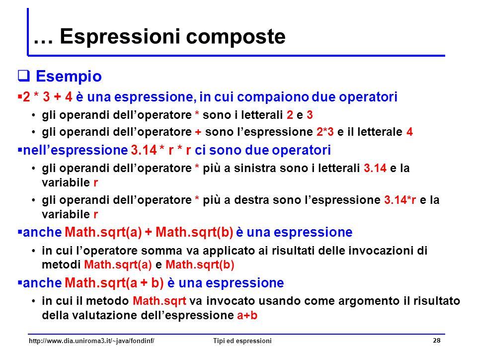 http://www.dia.uniroma3.it/~java/fondinf/Tipi ed espressioni 29 Valutazione delle espressioni  Le espressioni vengono valutate calcolando il valore di ciascun operando, e applicando gli operatori uno alla volta, in un ordine che dipende:  dalla precedenza degli operatori che vi occorrono normalmente gli operatori moltiplicativi vanno applicati prima di quelli additivi  a parità di precedenza, dall'associatività degli operatori normalmente operatori con uguale precedenza vanno valutati da sinistra verso destra  dalle parentesi che sono un operatore