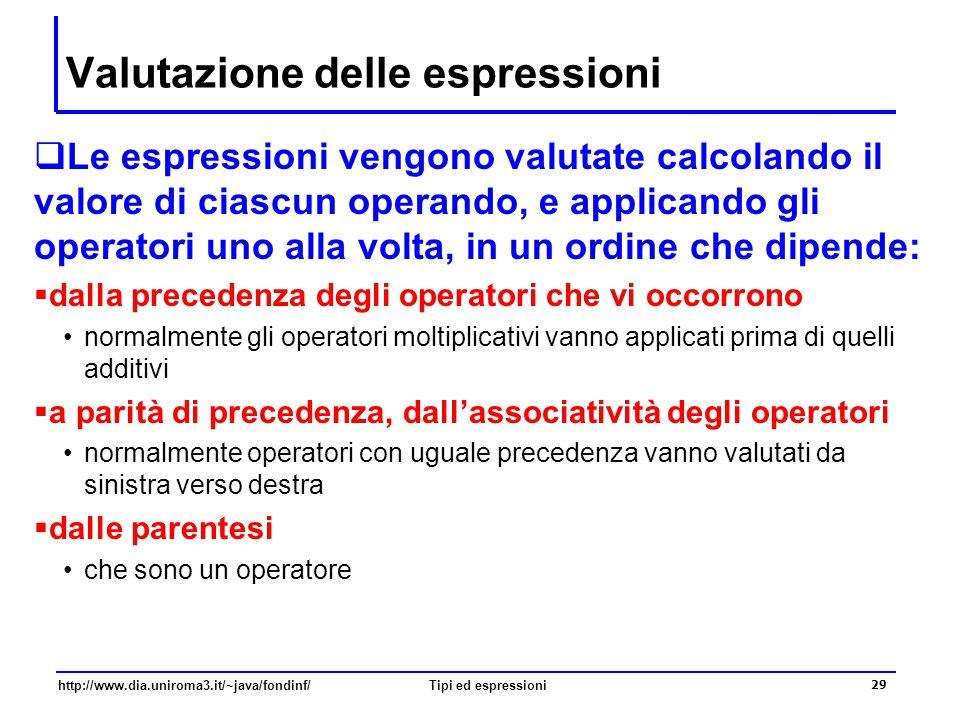http://www.dia.uniroma3.it/~java/fondinf/Tipi ed espressioni 30 Valutazione delle espressioni  Qual è il risultato delle seguenti espressioni.