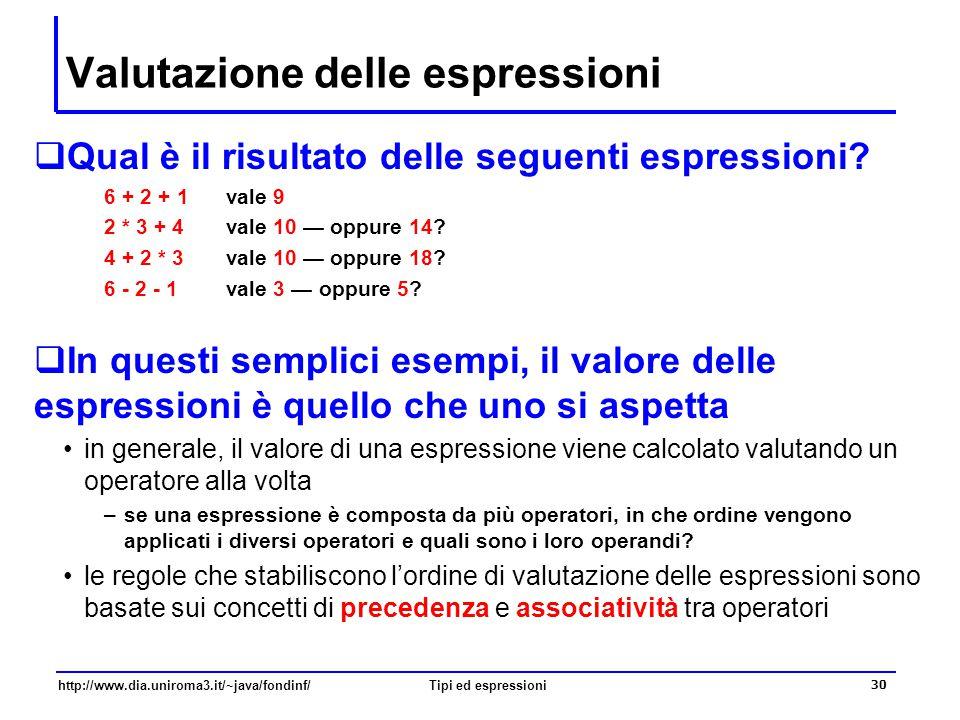 http://www.dia.uniroma3.it/~java/fondinf/Tipi ed espressioni 31 Precedenza degli operatori  La precedenza degli operatori permette di stabilire, nell'ambito di una espressione, qual è l'operatore che deve essere applicato per primo ad esempio, una regola di precedenza è la seguente –nelle espressioni aritmetiche, gli operatori moltiplicativi *, / e % hanno precedenza (ovvero, devono essere valutati prima degli) sugli operatori additivi + e - quindi 2 * 3 + 4 vale 10 — e non 14 4 + 2 * 3 vale 10 — e non 18 23 4 + * primo operatore a essere valutato secondo operatore a essere valutato 23 4 + * primo operatore a essere valutato secondo operatore a essere valutato 23 4 + * primo operatore a essere valutato secondo operatore a essere valutato 23 4 + * primo operatore a essere valutato secondo operatore a essere valutato