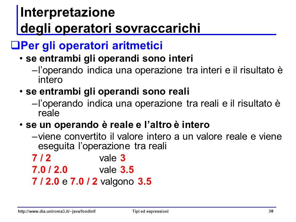 http://www.dia.uniroma3.it/~java/fondinf/Tipi ed espressioni 39 Esercizio Determinare tipo e valore per ciascuna delle seguenti espressioni 1/2 + 1/2 1.0/2 + 1/2.0 1.0/2 + 1/2 Il significato di un operatore dipende solo dal tipo dei suoi operandi, e non dal contesto in cui il suo risultato viene utilizzato ad esempio, l'ultima espressione vale 0.5 (e non 1.0).