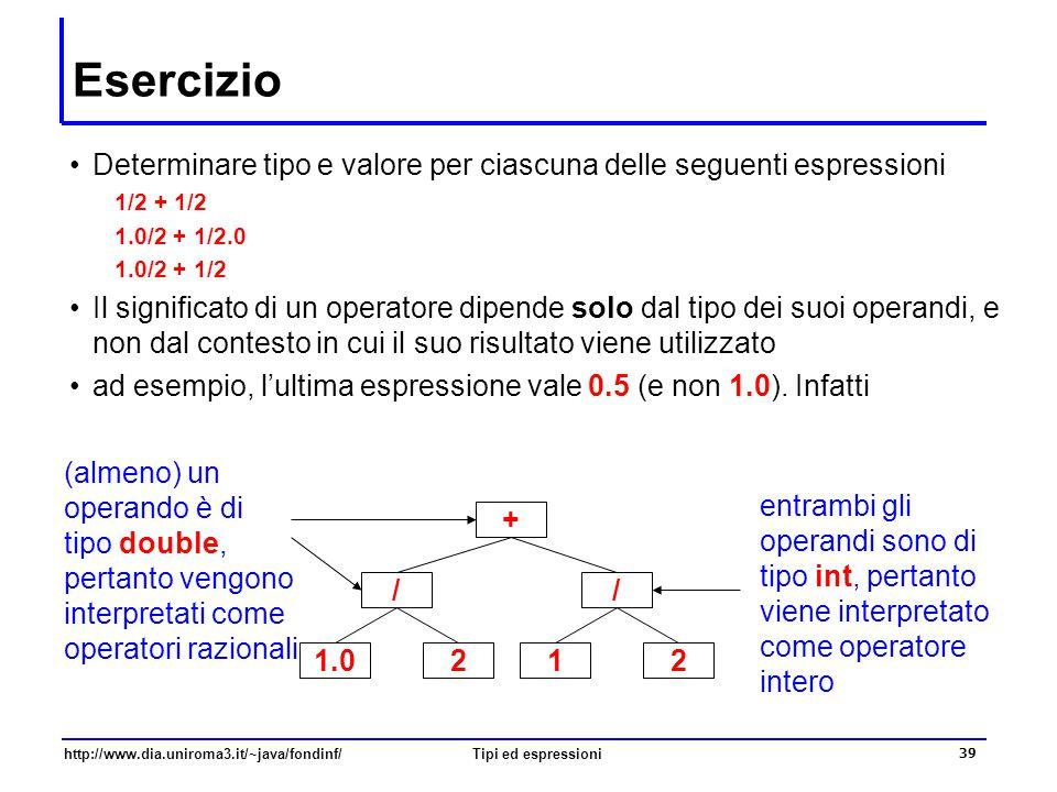 http://www.dia.uniroma3.it/~java/fondinf/Tipi ed espressioni 40 Divisione per zero  A differenza di quanto avviene nell'aritmetica intera, la divisione per zero è una operazione consentita nell'aritmetica razionale il dominio dei tipi numerici reali comprende una rappresentazione dell'infinito  Ad esempio double a, b, c; a = 2; b = 0; c = a/b; System.out.println(c); // stampa Infinity  I valori infiniti possono essere acceduti come costanti notevoli delle classi Double e Float (del package java.lang) Double.POSITIVE_INFINITY e Double.NEGATIVE_INFINITY denotano rispettivamente +  e –  inoltre, Double.NaN (Not a Number) denota un valore che non è un numero (ad esempio, il risultato di 0.0/0.0)