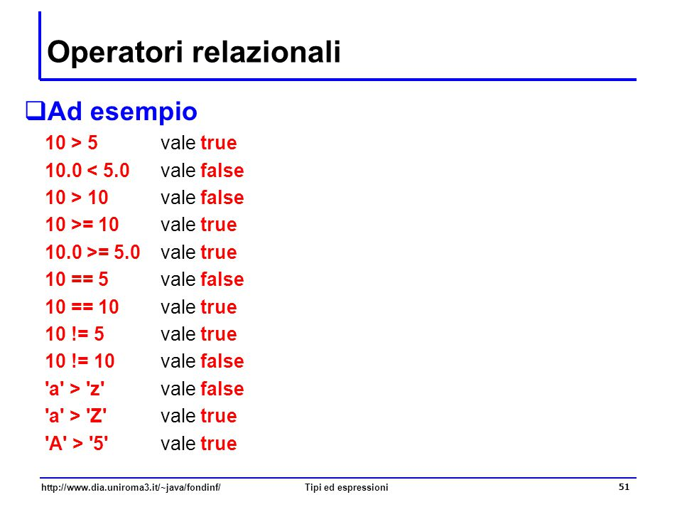 http://www.dia.uniroma3.it/~java/fondinf/Tipi ed espressioni 52 Predicati  Le espressioni di tipo boolean sono chiamate anche predicati (o condizioni) i predicati sono espressioni in cui possono apparire sia operatori relazionali che operatori logici ad esempio, il predicato (n>=0) && (n<=10) vale true se (e solo se) il valore di n è compreso tra 0 e 10