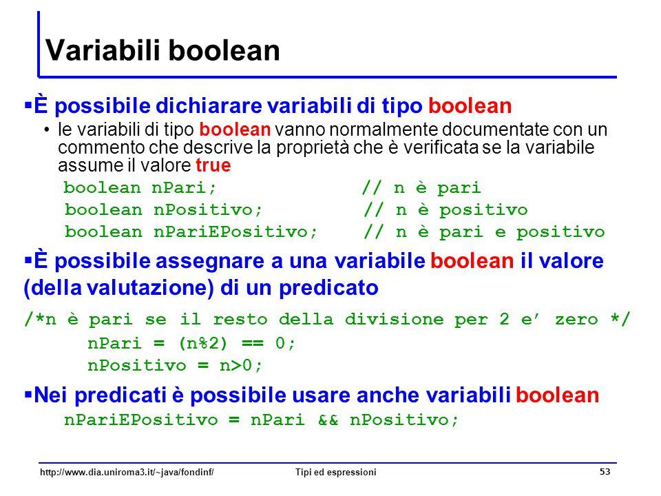 http://www.dia.uniroma3.it/~java/fondinf/Tipi ed espressioni 54 Esercizio  Qual è il valore stampato dal seguente frammento di codice.
