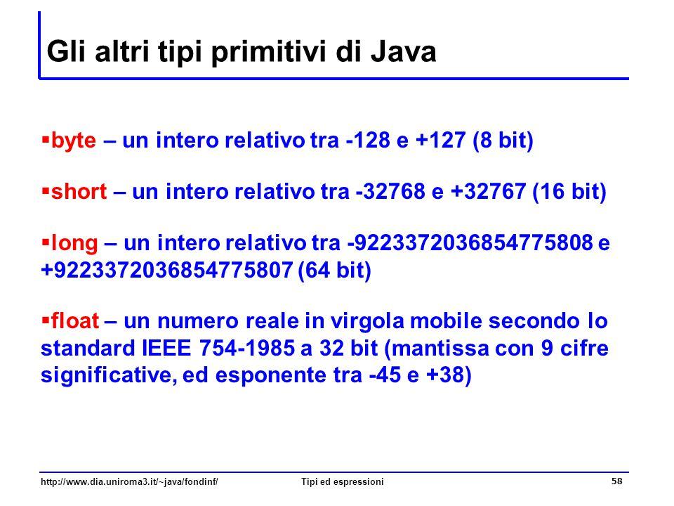 http://www.dia.uniroma3.it/~java/fondinf/Tipi ed espressioni 59 Conversione tra tipi  Talvolta è possibile / necessario effettuare conversioni da un tipo a un altro per trasformare la rappresentazione di un valore in un'altra rappresentazione  Ad esempio: si vuole calcolare il cubo di un numero intero.