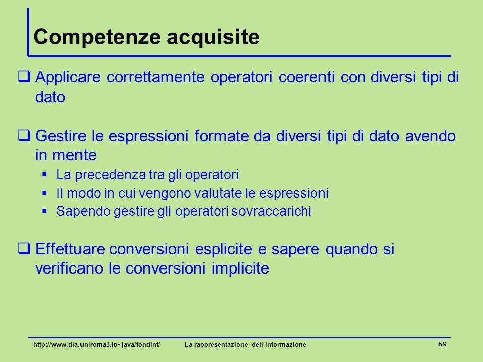 69 Parole chiave  Tipi di dato primitivi/riferimento  Rappresentazione, interpretazione, dominio, operatori  Variabili, costanti, parametri  Opratori relazionali, operatori logici, predicati  Espressioni, operatori sovraccarichi, cast, conversioni esplicite/implicite http://www.dia.uniroma3.it/~java/fondinf/La rappresentazione dell'informazione