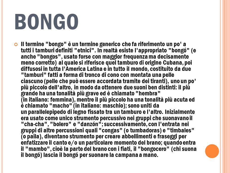BONGO Il termine bongo è un termine generico che fa riferimento un po a tutti i tamburi definiti etnici .