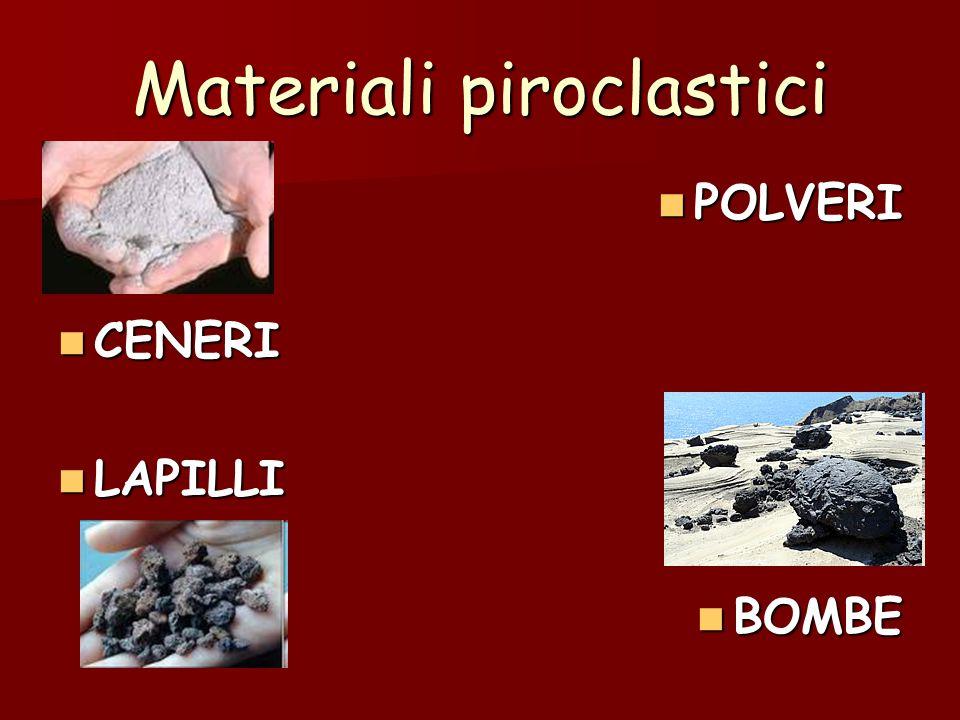 Materiali piroclastici POLVERI POLVERI CENERI CENERI LAPILLI LAPILLI BOMBE BOMBE