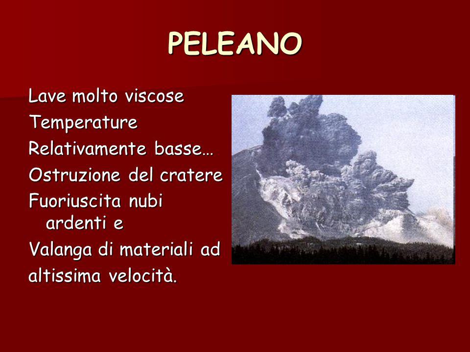 PELEANO Lave molto viscose Temperature Relativamente basse… Ostruzione del cratere Fuoriuscita nubi ardenti e Valanga di materiali ad altissima veloci