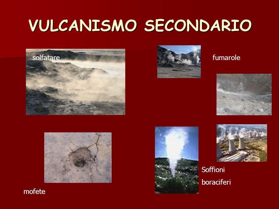 VULCANISMO SECONDARIO solfatarefumarole Soffioni boraciferi mofete