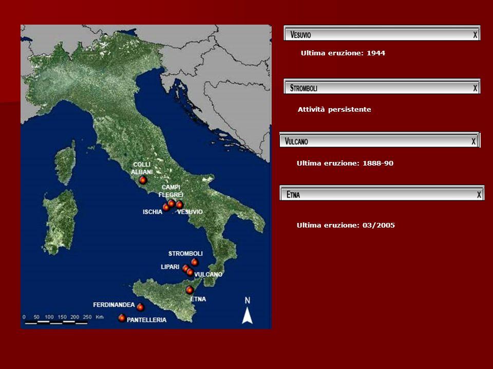 Ultima eruzione: 1944 Attività persistente Ultima eruzione: 1888-90 Ultima eruzione: 03/2005