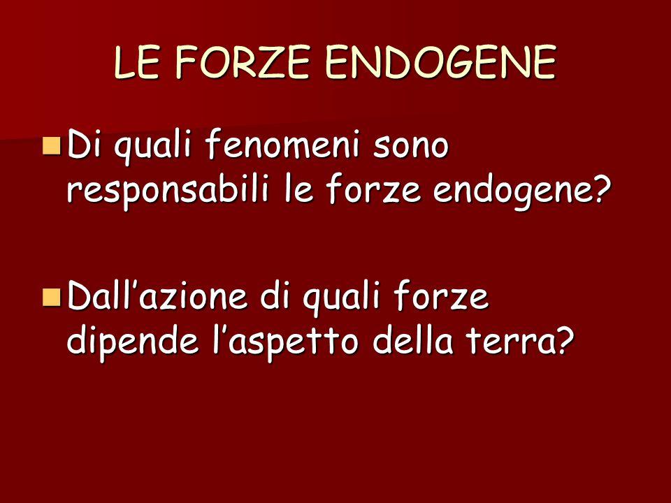 LE FORZE ENDOGENE Di quali fenomeni sono responsabili le forze endogene? Di quali fenomeni sono responsabili le forze endogene? Dall'azione di quali f