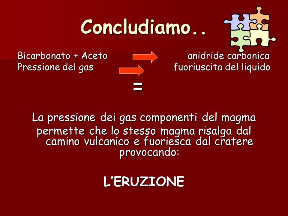 Concludiamo.. Bicarbonato + Aceto anidride carbonica Pressione del gas fuoriuscita del liquido = La pressione dei gas componenti del magma permette ch