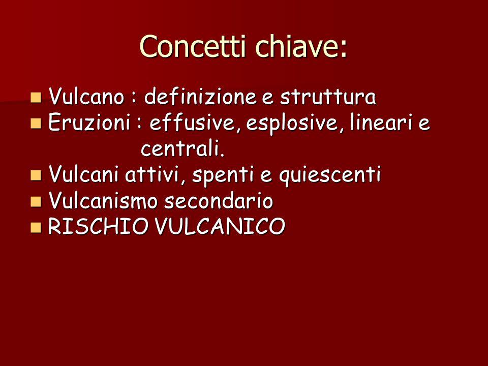 Concetti chiave: Vulcano : definizione e struttura Vulcano : definizione e struttura Eruzioni : effusive, esplosive, lineari e Eruzioni : effusive, es