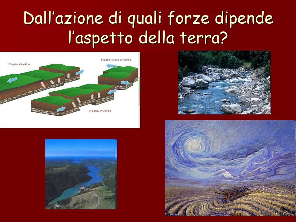Dall'azione di quali forze dipende l'aspetto della terra?