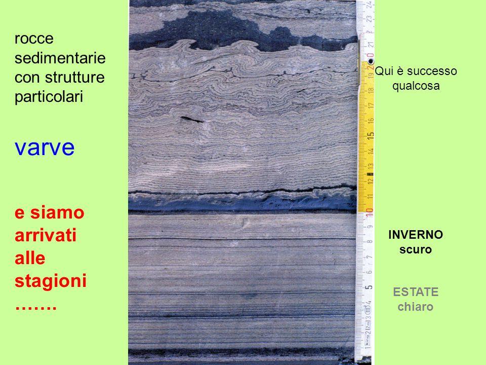 Qui è successo qualcosa ESTATE chiaro INVERNO scuro rocce sedimentarie con strutture particolari e siamo arrivati alle stagioni …….
