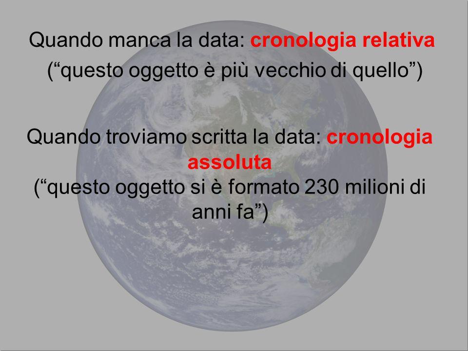 Quando manca la data: cronologia relativa ( questo oggetto è più vecchio di quello ) Quando troviamo scritta la data: cronologia assoluta ( questo oggetto si è formato 230 milioni di anni fa )