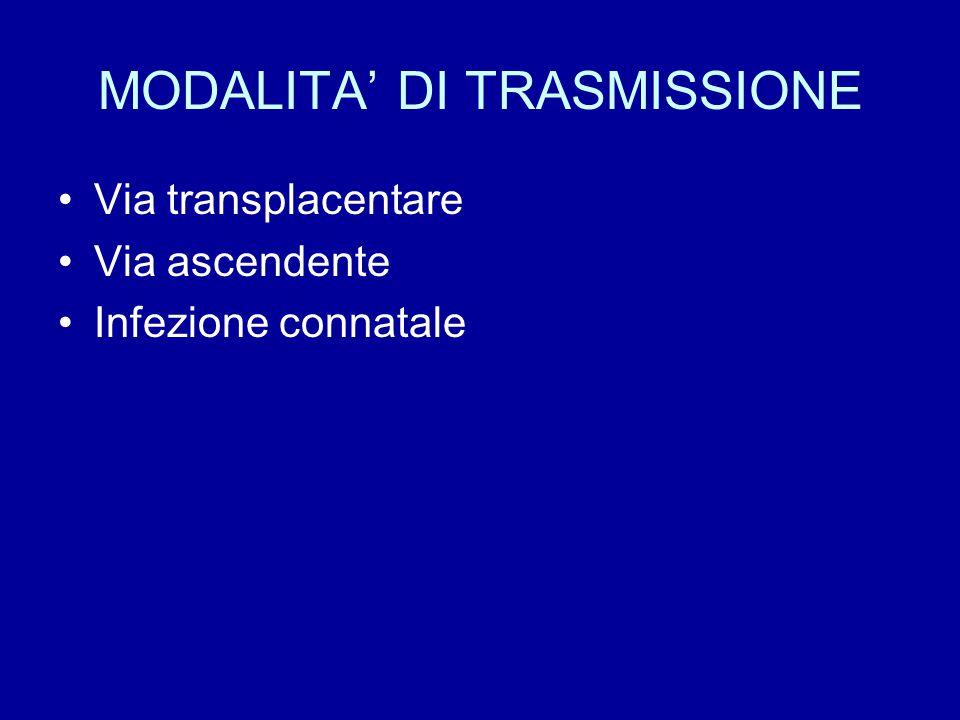 MODALITA' DI TRASMISSIONE Via transplacentare Via ascendente Infezione connatale