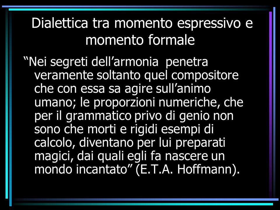 """Dialettica tra momento espressivo e momento formale """"Nei segreti dell'armonia penetra veramente soltanto quel compositore che con essa sa agire sull'a"""