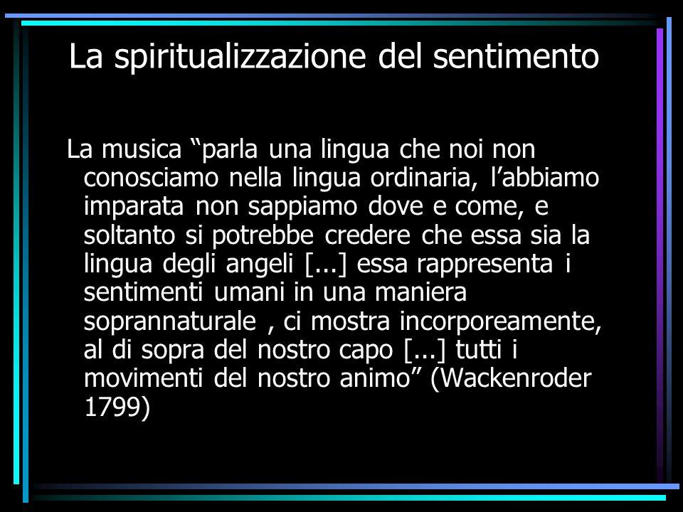 """La spiritualizzazione del sentimento La musica """"parla una lingua che noi non conosciamo nella lingua ordinaria, l'abbiamo imparata non sappiamo dove e"""
