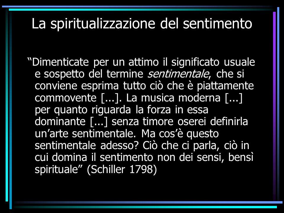 """La spiritualizzazione del sentimento """"Dimenticate per un attimo il significato usuale e sospetto del termine sentimentale, che si conviene esprima tut"""