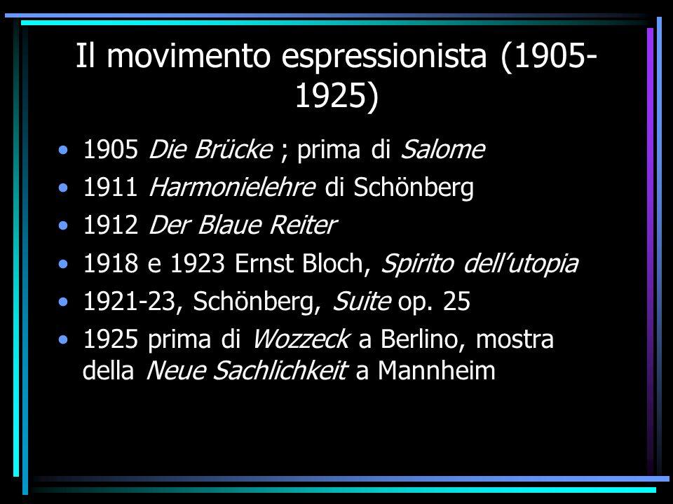 Il movimento espressionista (1905- 1925) 1905 Die Brücke ; prima di Salome 1911 Harmonielehre di Schönberg 1912 Der Blaue Reiter 1918 e 1923 Ernst Blo