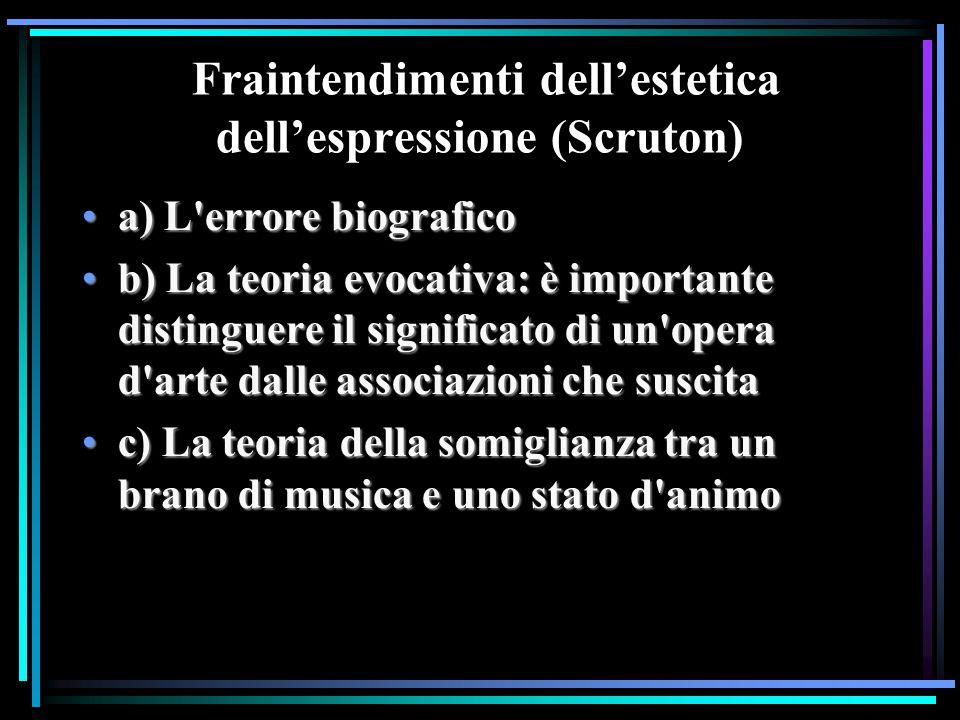 Fraintendimenti dell'estetica dell'espressione (Scruton) a) L'errore biograficoa) L'errore biografico b) La teoria evocativa: è importante distinguere