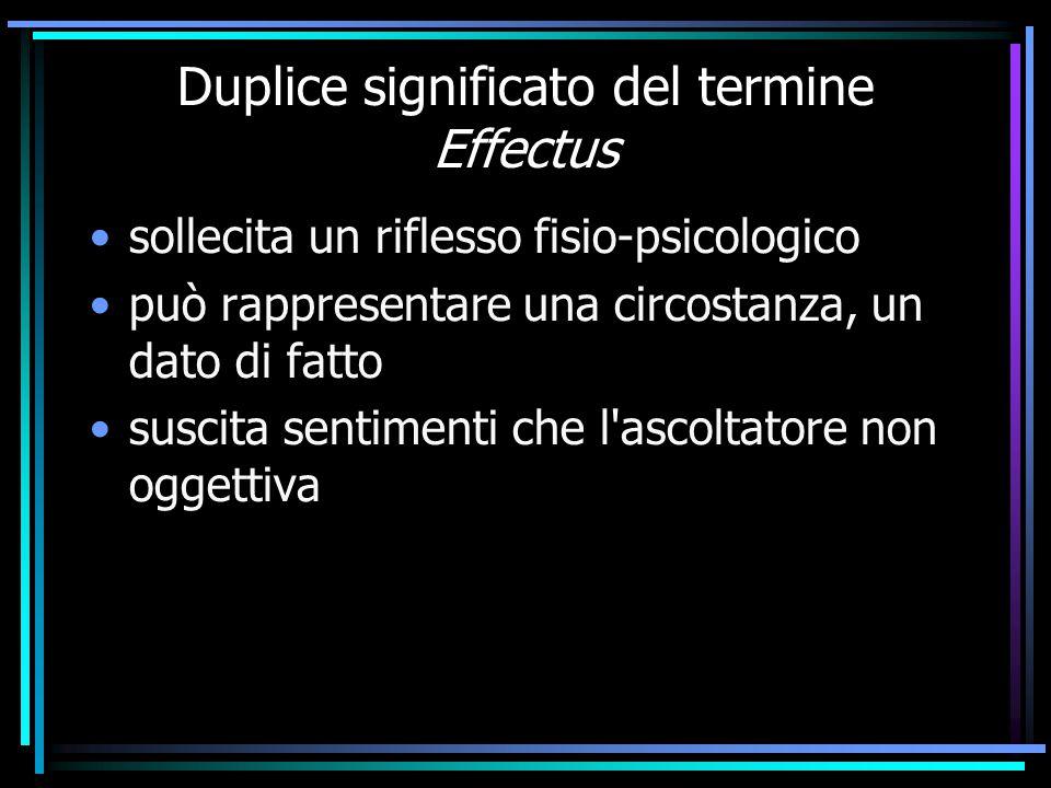 Duplice significato del termine Effectus sollecita un riflesso fisio-psicologico può rappresentare una circostanza, un dato di fatto suscita sentiment