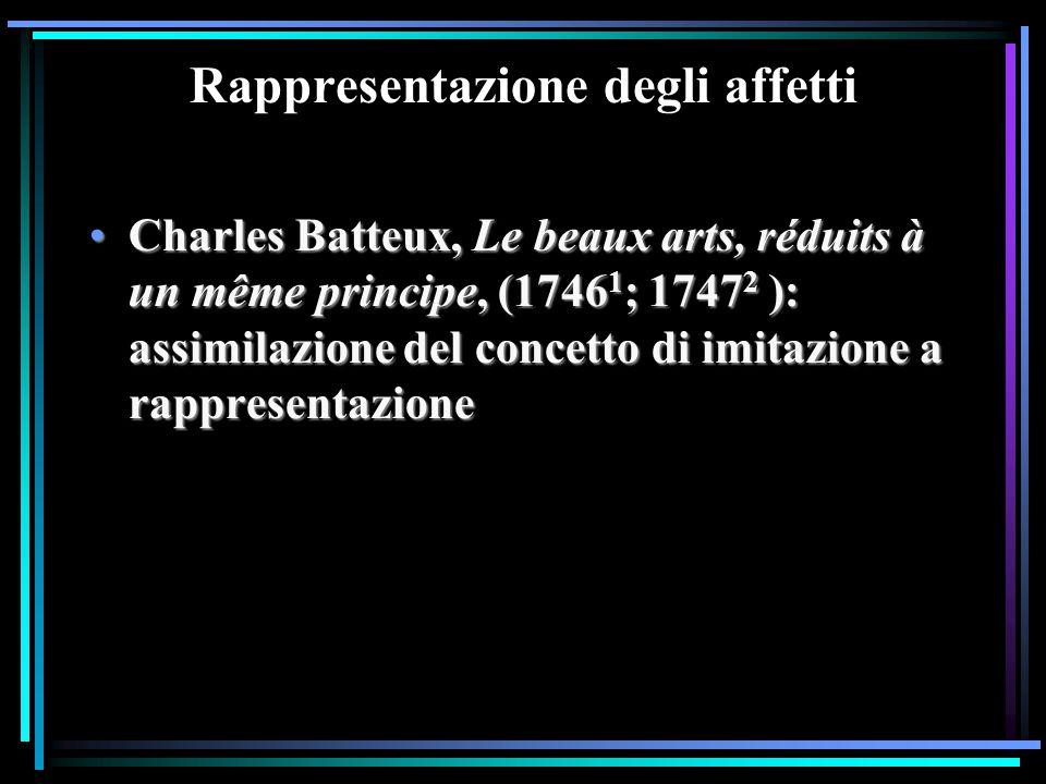 Rappresentazione degli affetti Charles Batteux, Le beaux arts, réduits à un même principe, (1746 1 ; 1747 2 ): assimilazione del concetto di imitazion