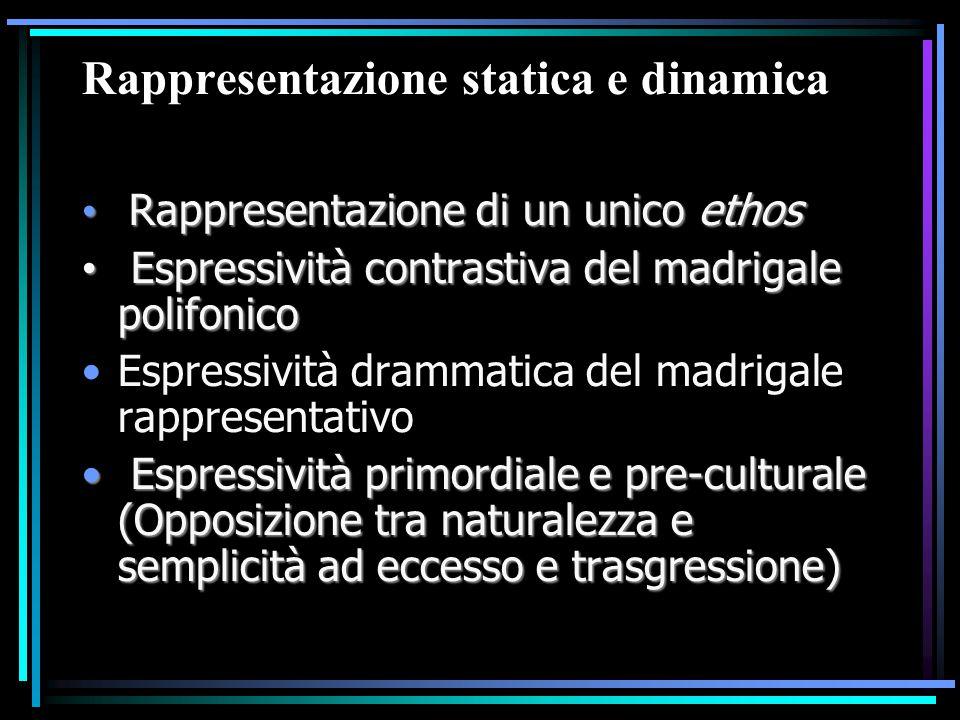Rappresentazione statica e dinamica Rappresentazione di un unico ethos Rappresentazione di un unico ethos Espressività contrastiva del madrigale polif