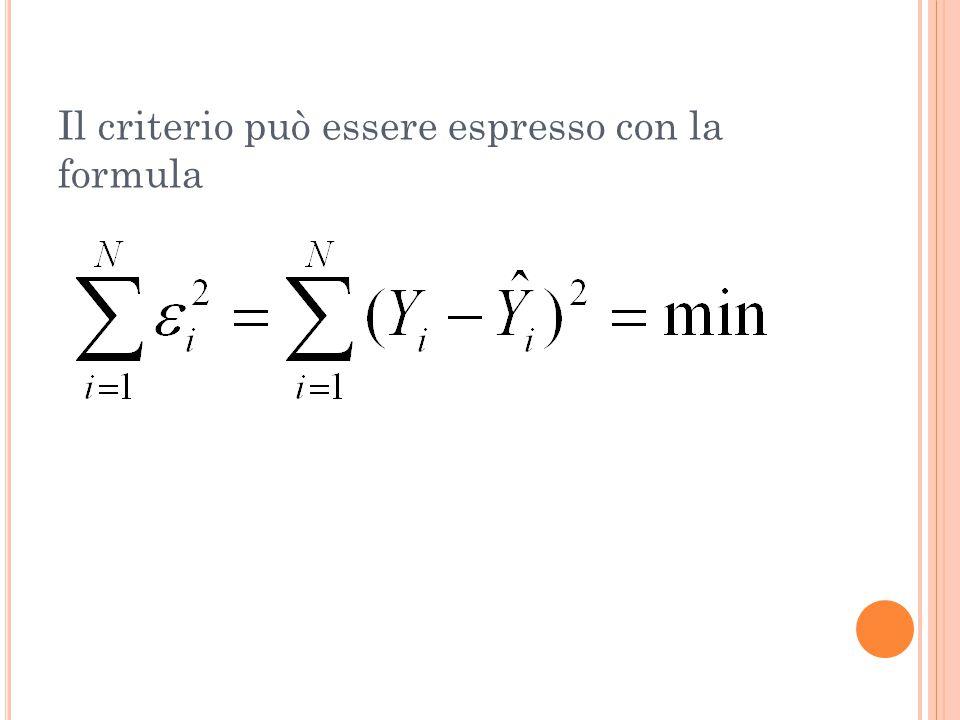 Il criterio può essere espresso con la formula