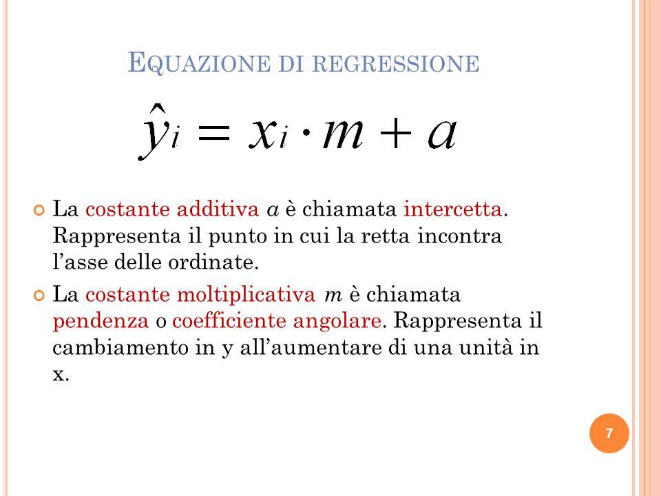 E QUAZIONE DI REGRESSIONE La costante additiva a è chiamata intercetta.