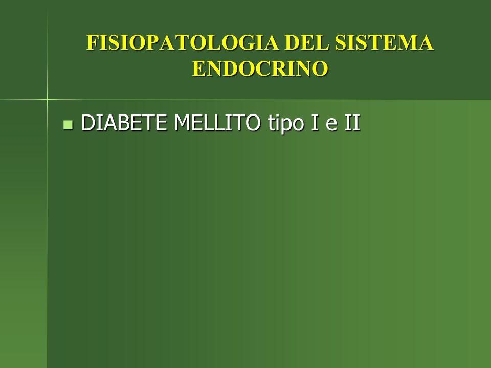 FISIOPATOLOGIA DEL SISTEMA ENDOCRINO DIABETE MELLITO tipo I e II DIABETE MELLITO tipo I e II