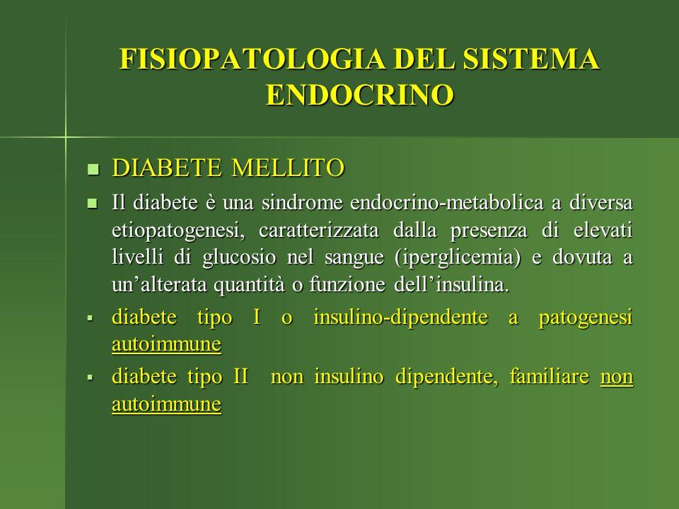 FISIOPATOLOGIA DEL SISTEMA ENDOCRINO DIABETE MELLITO DIABETE MELLITO Il diabete è una sindrome endocrino-metabolica a diversa etiopatogenesi, caratter