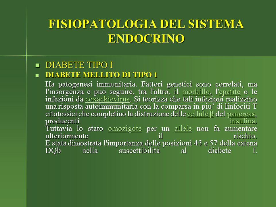 FISIOPATOLOGIA DEL SISTEMA ENDOCRINO DIABETE TIPO I DIABETE TIPO I DIABETE MELLITO DI TIPO 1 DIABETE MELLITO DI TIPO 1 Ha patogenesi immunitaria. Fatt