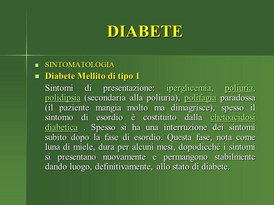 DIABETE SINTOMATOLOGIA SINTOMATOLOGIA Diabete Mellito di tipo 1 Diabete Mellito di tipo 1 Sintomi di presentazione: iperglicemia, poliuria, polidipsia