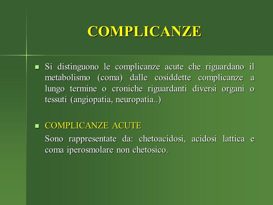 COMPLICANZE Si distinguono le complicanze acute che riguardano il metabolismo (coma) dalle cosiddette complicanze a lungo termine o croniche riguardan