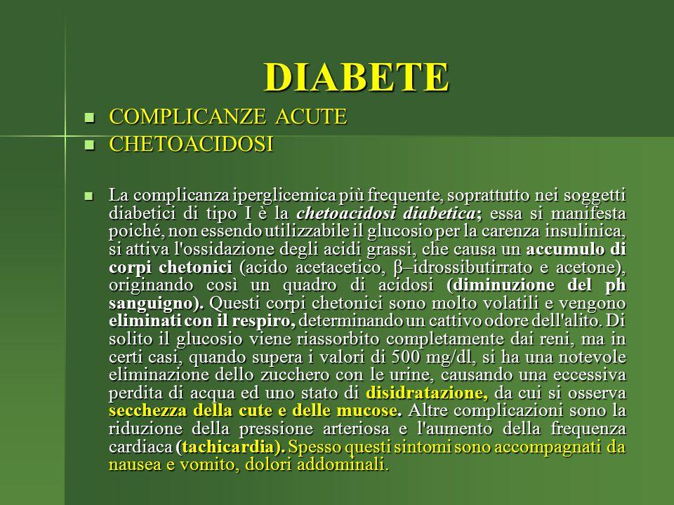 DIABETE COMPLICANZE ACUTE COMPLICANZE ACUTE CHETOACIDOSI CHETOACIDOSI La complicanza iperglicemica più frequente, soprattutto nei soggetti diabetici d