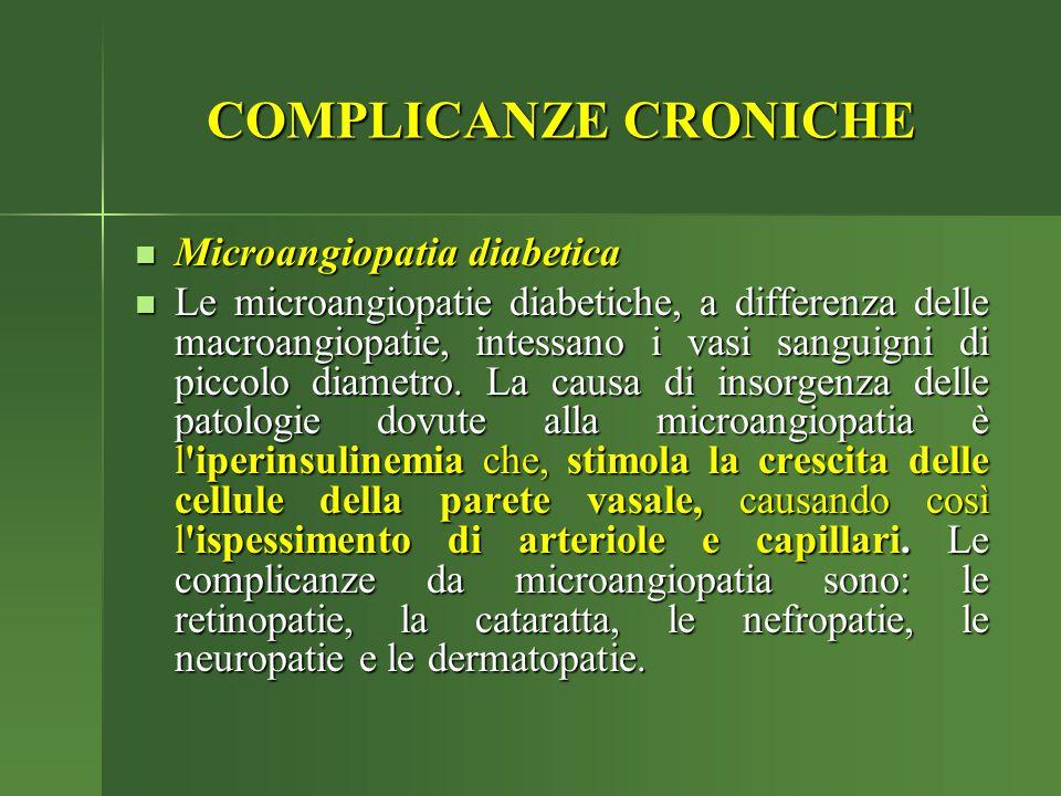 COMPLICANZE CRONICHE Microangiopatia diabetica Microangiopatia diabetica Le microangiopatie diabetiche, a differenza delle macroangiopatie, intessano