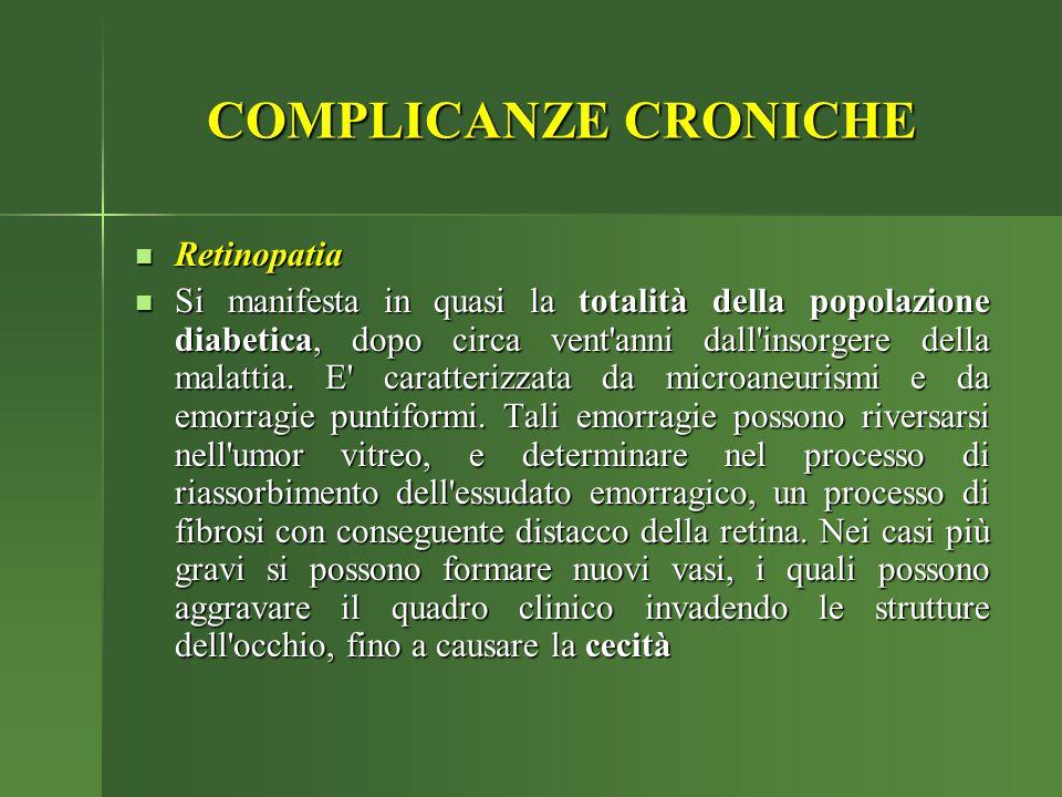 COMPLICANZE CRONICHE Retinopatia Retinopatia Si manifesta in quasi la totalità della popolazione diabetica, dopo circa vent'anni dall'insorgere della