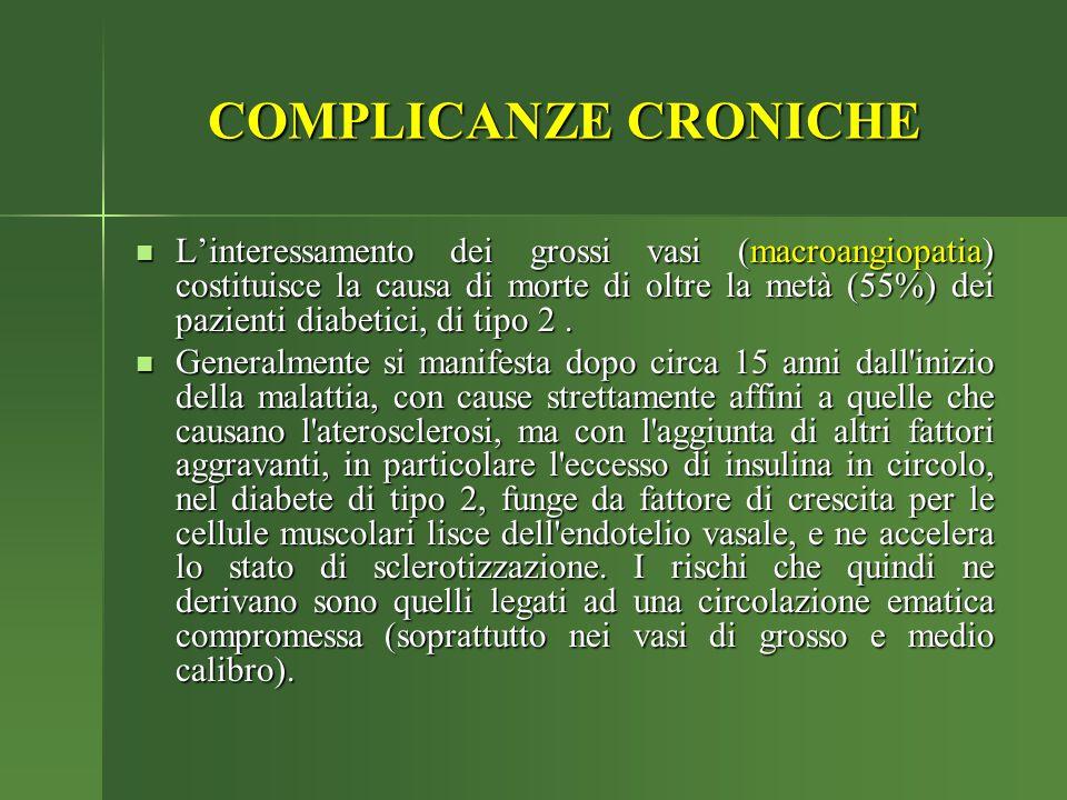 COMPLICANZE CRONICHE L'interessamento dei grossi vasi (macroangiopatia) costituisce la causa di morte di oltre la metà (55%) dei pazienti diabetici, d