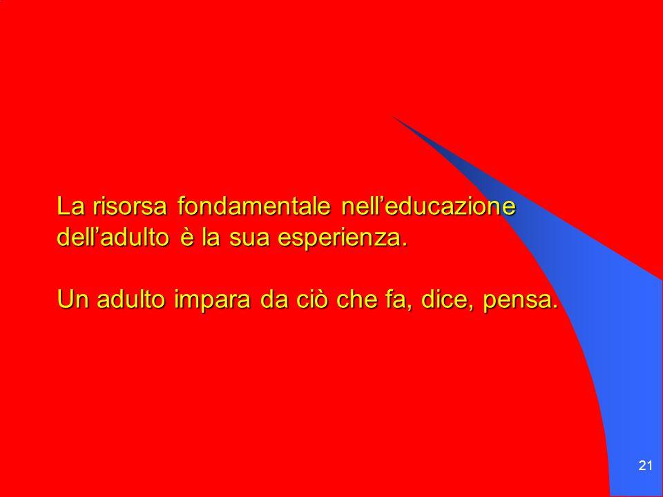 21 La risorsa fondamentale nell'educazione dell'adulto è la sua esperienza.