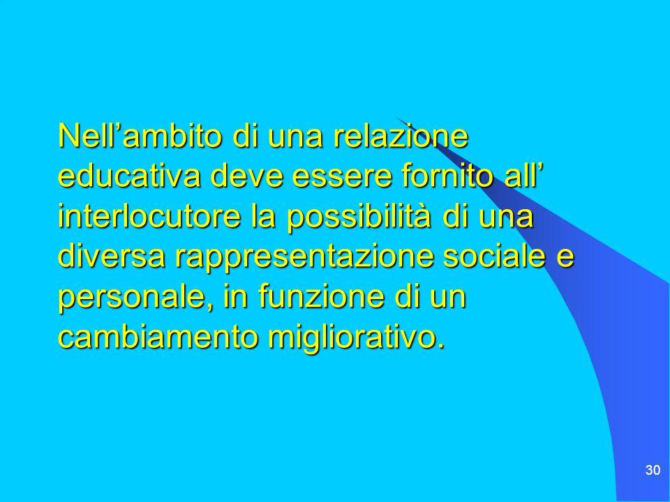 30 Nell'ambito di una relazione educativa deve essere fornito all' interlocutore la possibilità di una diversa rappresentazione sociale e personale, in funzione di un cambiamento migliorativo.