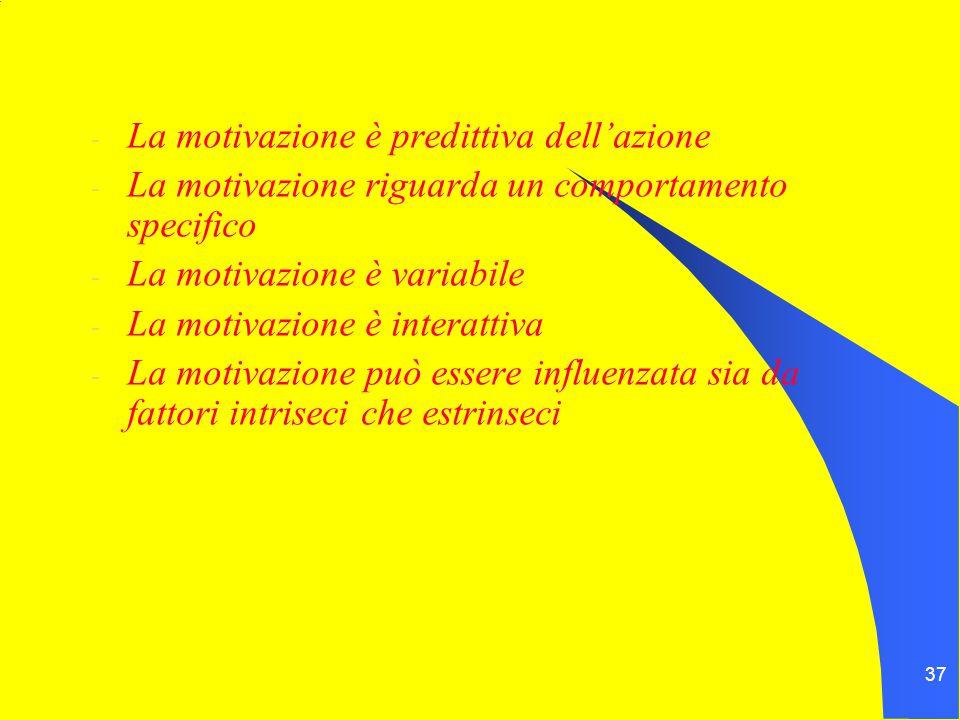 37 - La motivazione è predittiva dell'azione - La motivazione riguarda un comportamento specifico - La motivazione è variabile - La motivazione è interattiva - La motivazione può essere influenzata sia da fattori intriseci che estrinseci