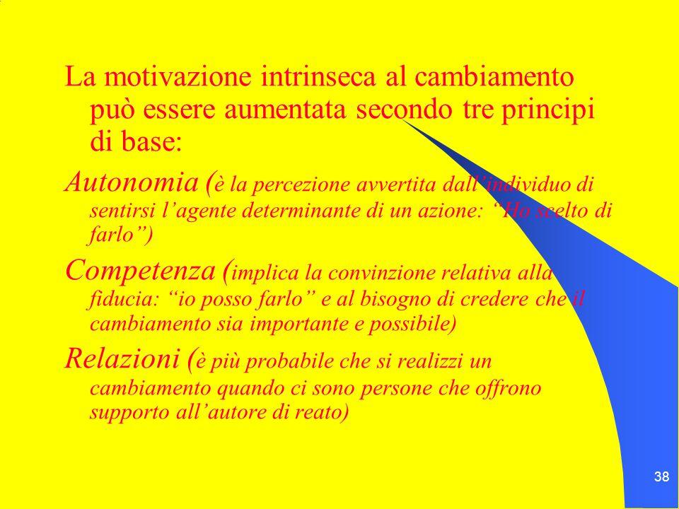 38 La motivazione intrinseca al cambiamento può essere aumentata secondo tre principi di base: Autonomia ( è la percezione avvertita dall'individuo di sentirsi l'agente determinante di un azione: Ho scelto di farlo ) Competenza ( implica la convinzione relativa alla fiducia: io posso farlo e al bisogno di credere che il cambiamento sia importante e possibile) Relazioni ( è più probabile che si realizzi un cambiamento quando ci sono persone che offrono supporto all'autore di reato)