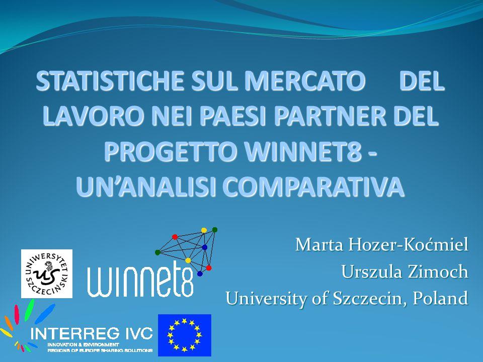 Marta Hozer-Koćmiel Urszula Zimoch University of Szczecin, Poland STATISTICHE SUL MERCATO DEL LAVORO NEI PAESI PARTNER DEL PROGETTO WINNET8 - UN'ANALISI COMPARATIVA