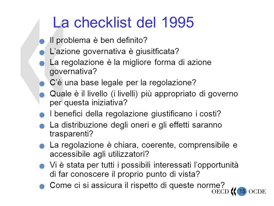 15 La checklist del 1995 Il problema è ben definito.