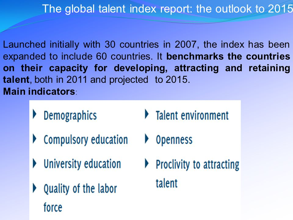 The global talent index report: the outlook to 2015 Launched initially with 30 countries in 2007, the index has been expanded to include 60 countries.